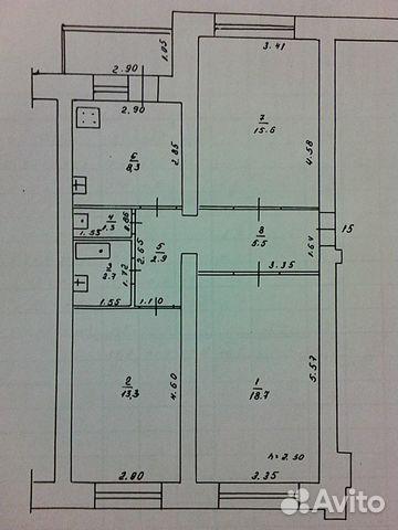 3-к квартира, 70 м², 1/5 эт.
