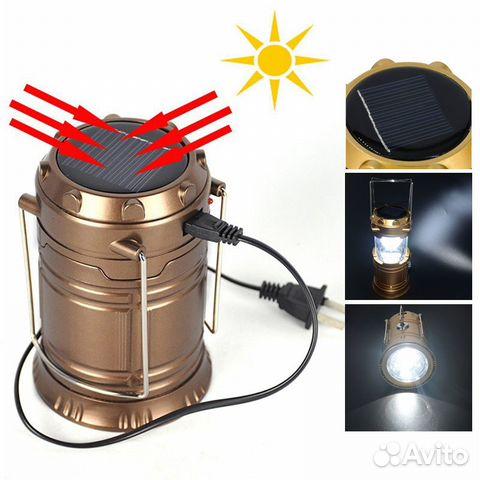 Универсальный фонарь explorer с солнечной батареей и портом usb