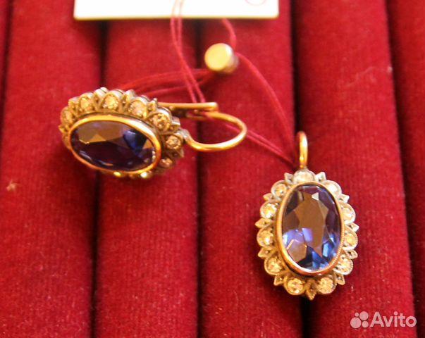 Серьги золото 56 пробы сапфиры бриллианты 0,63 ct купить в Санкт ... 770602ef33f