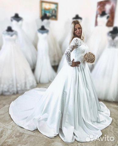 1e19de26976 Свадебное платье со шлейфом - атлас купить в Ростовской области на ...