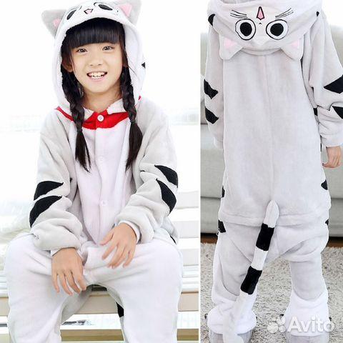 Кигуруми пижама костюм кота  b7b8e035e09d1