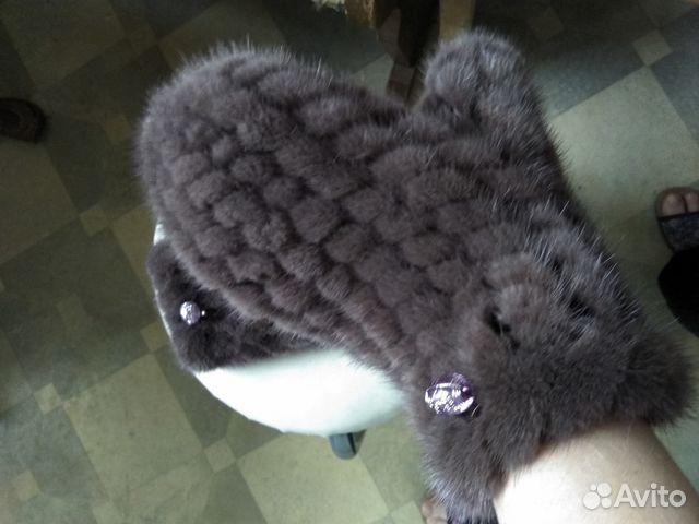 варежки из вязаной норки коричневые Festimaru мониторинг объявлений