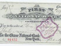 Банковский чек 1911года США