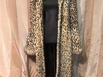 Шуба мутон леопардовая, меховое пальто