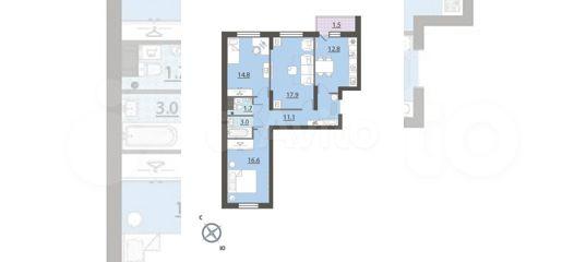 3-к квартира, 79.4 м², 24/33 эт. в Свердловской области   Покупка и аренда квартир   Авито